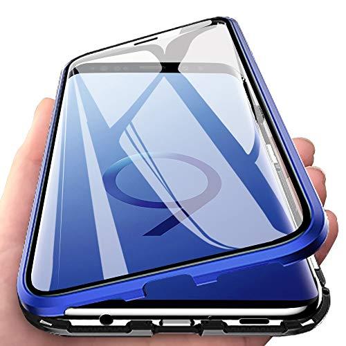 Eabhulie Galaxy S9 Funda, Metal Bumper con Adsorción Magnética + 360 Grados Vidrio Templado Cobertura de Pantalla Completa Carcasa para Samsung Galaxy S9 Azul Negro