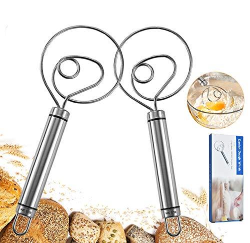 Danish Dough Whisk, Dutch Whisks, KOHUIJOO Stainless Steel Danish Whisk 8Inch Premium Metal Batter Whisks, Whisk Kitchen Tool for Bread, Batter, Cake, Pastry 2Pcs(Sliver)