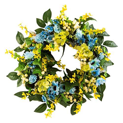 MiK Artificial Winter Jasmine Flower Wreath With Blue Flower White Berry Spring Summer Door Garland Front Door Hanging Decor