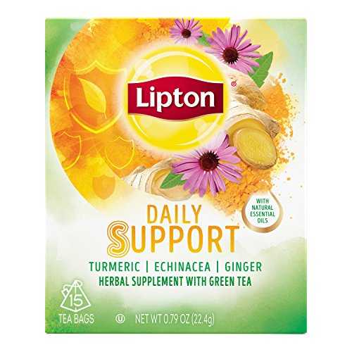 Lipton Herbal Supplement with Green Tea, Daily Support, 15 ct