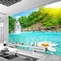 カスタム写真壁紙3D滝川の森自然壁画壁布リビングルームテレビソファ寝室家の装飾壁装3D-400X280cm