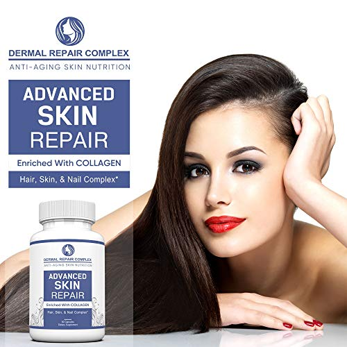 51DUNaY9SWL - Dermal Repair Complex Skin Supplement - Advanced Collagen, Hyaluronic Acid and Vitamin C for Anti-Aging & Skin Health Support 60 Capsules
