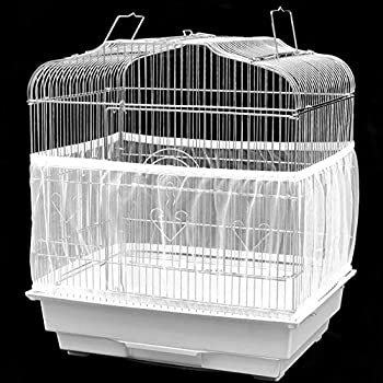 Bird Cage Seed Catcher Seeds Guard Parrot Birdcage Airy Mesh Net Cover Stretchy Shell Skirt Bird Cage Accessory(L)