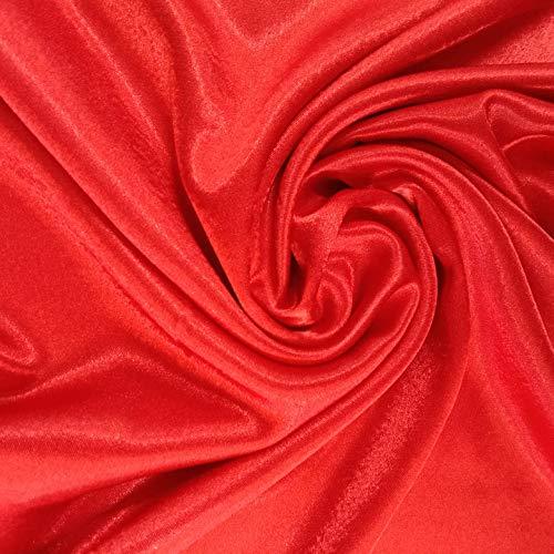 Tela de seda, de poliéster, color rojo, con material de revestimiento de...