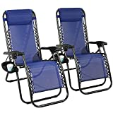 2pcs Outdoor Lounge Chairs Portable Zero Gravity Recliner Reclining Camping...