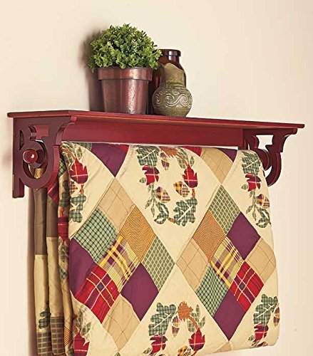 TRM Wood Wooden Quilt Rack Wall Mount Shelf Scroll Walnut Finish