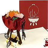 PaperCrush® Pop-Up Karte Grill - 3D Geburtstagskarte für Ihn, Männer Glückwunschkarte, Mitbringsel für Grillparty, Grillen - Lustige Geschenkkarte für Papa, besten Freund, 18. Geburtstag