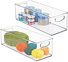 "mDesign Stackable Plastic Storage Organizer Bin with Built-in Handles - for Craft, Sewing, Art, School Supplies in Home, Classroom, Playroom or Studio - 16\"" Long, 2 Pack - Clear"