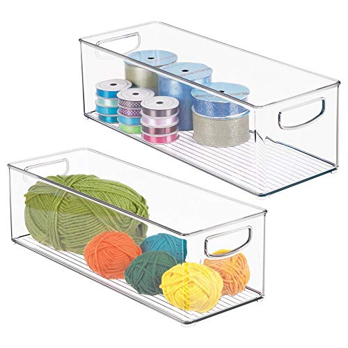 "mDesign Stackable Plastic Storage Organizer Bin with Built-in Handles - for Craft, Sewing, Art, School Supplies in Home, Classroom, Playroom or Studio - 16"" Long, 2 Pack - Clear"