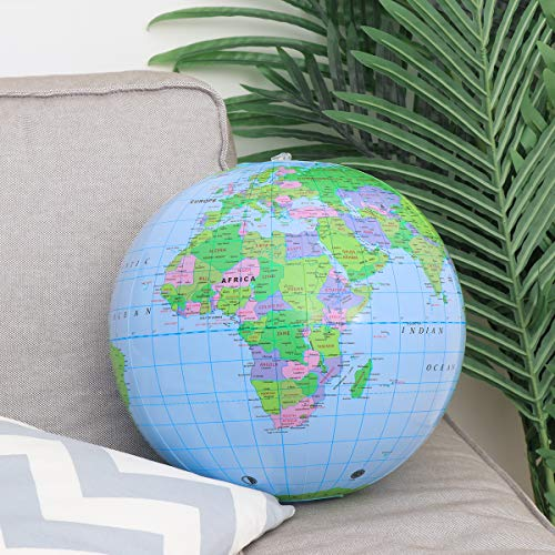 NUOBESTY Inflatable Globe PVC World Globe Inflatable Earth Beach Ball for Beach Playing or Teaching