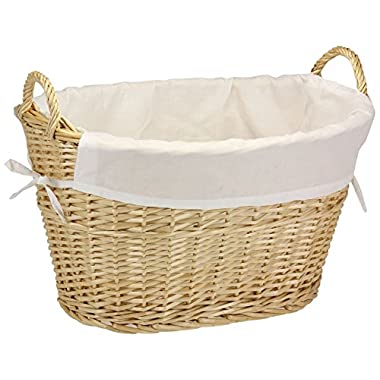 Household Essentials ML-5569 Willow Wicker Laundry Basket with Handles and Liner | Natural Brown