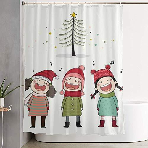 Popsastaresa Cortina de Ducha, Tres niños Cantando villancicos con Pino, Cortina de baño Cortina de baño Lavable Tela de poliéster con 12 Ganchos de plástico 180x180cm