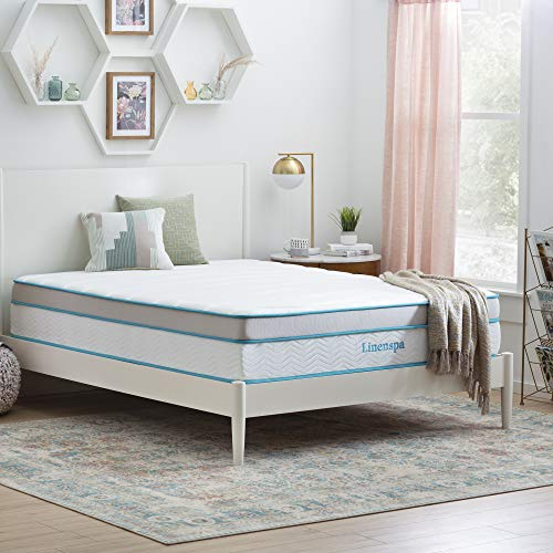 Linenspa 12 Inch Memory Hybrid Plush-Individually Encased Coils-Edge Support-Quilted Foam Cover Mattress, Queen, White