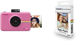Polaroid Snap Touch Cámara digital con impresión instantánea y pantalla LCD con tecnología Zero Zink (rosada) + Polaroid Premium Zink Paper - Paquete de 20 papeles fotográficos (compatibles con Polaroid Snap Z2300 Socialmatic y la impresora móvil ZIP 5 x 7.6 cm) color blanco