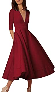 dbec4a66f79 Women Long Dress Daoroka Women s Sexy Plus Size Deep V-Neck Vintage Evening  Party Swing