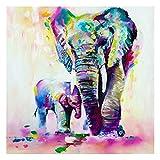 Pintura de acuarela para decoración del hogar, fotos de animales, elefante, lienzo para sala de estar, pared abstracta (60 x 60)