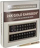 Ear Seeds: 24K Gold EarSeeds Acupressure Kit - 40 Pieces - Ear Seeds with Bonus Free Precision Tweezers & Chart - Clear Latex-Free Tape - Auriculotherapy Pellets for Balance & Wellness