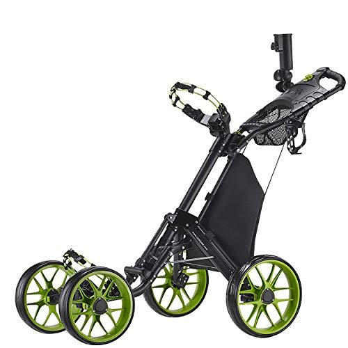 CaddyTek One-Click Folding 4-Rad Version 3 Golf Push Cart (Lime)