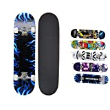 HUADUO Adultos Principiantes Deportes Penny Skate Board al Aire Libre patineta Longboard Completa para niños younth-Fuego Azul