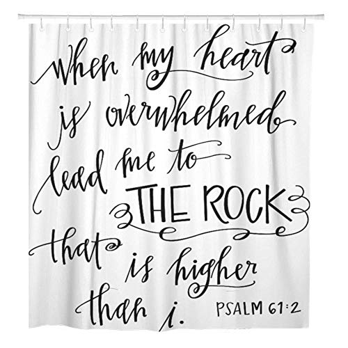 SYLZBHD Vers My Rock Bible Christian Zitat Schrift Herz Duschvorhang Wasserdichter Polyester Stoff Mit Haken-B90xH180cm