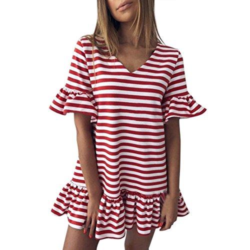 V-Ausschnitt Streifen Rüschen Mode Kurzes Minikleid Schmetterling mit Rüschen Peplum T-Shirts Kleid