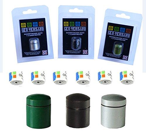 geo-versand Silber - GRÜN - SCHWARZ magnetischer Nano mit 3 Logstreifen Geocaching Versteck, Behälter, Dose, Versteck, wasserdicht Micro