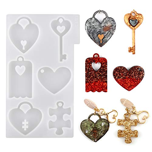 LETS RESIN Couples Keychains Molds,Couple Necklace Molds with Heart Resin Molds, Heart Lock Silicone Molds, Puzzle Epoxy Pendant Molds for Mothers Day Gifts
