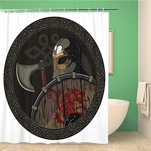 Awowee Decor Duschvorhang Odin Warrior Barbarian Wikinger Berserker Axt und Schild weiß 180 x 180 cm Polyester Stoff wasserdicht Badvorhänge Set mit Haken für Badezimmer