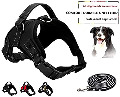 ESLETO Dog Harness No Pull Pet Harness 3M Reflective Adjustable Outdoor Pet Vest for Dogs, Easy Walk Harness for Small Medium Large Dogs with Dog Rope