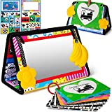 beetoy Tummy Time Floor Mirror with 10 High Contrast Cards and Teethers, Black and White Baby Toys Tummy Time Activity Developmental Montessori Sensory Toy Newborn Infants Toddlers 0 3 6 Months