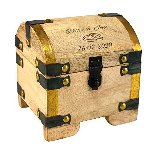 Schatztruhe zur Hochzeit mit Gravur rustikal - wir gravieren 2 Namen + 1 Datum + 2 Ringe - Personalisiertes Hochzeitsgeschenk/Geldgeschenke zur Hochzeit