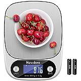 Newdora Küchenwaage Smart Digital Lebensmittelwaage mit Tara-Funktion LCD-Bildschirm 5 kg