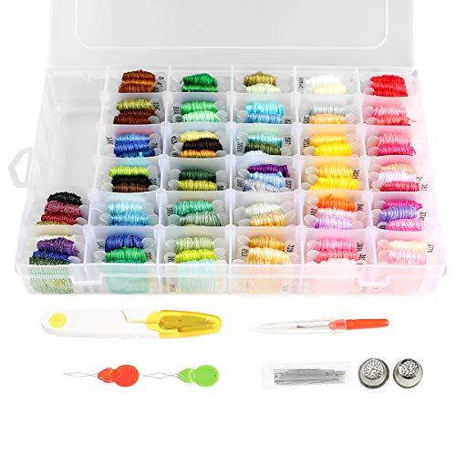 Sticktwist Kreuzstichfäden, 108 Farben, Freundschaftsarmbänder, Garn mit Organizer, Aufbewahrungsbox, Stickgarn, Armband und 38 Kreuzstich-Werkzeuge.
