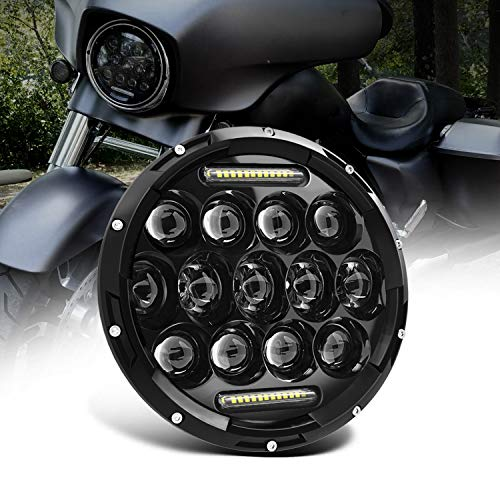UNI 7inch 75W Fari Nero LED Faro Anteriore HI LO Beam Harley Yamaha Road Star