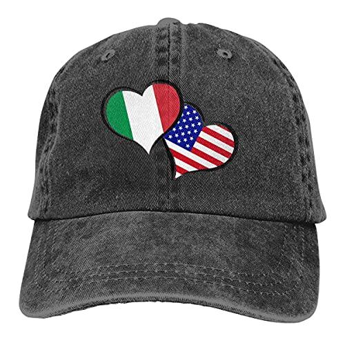 Dyfcnaiehrgrf Men Women Italian American Flag Hearts Love Adjustable Jeans Baseball Cap Trucker Hat Black