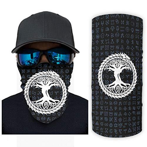 NA Wikinger Yggdrasil Drachen Keltisch Knoten Druck Bandana Gesichtsmaske Sonnenschutz Sturmhauben Gesichtsmaske White OneSize