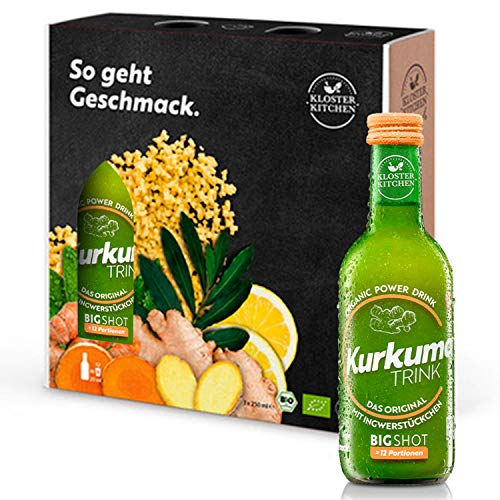 3er Pack Kloster Kitchen Bio KurkumaTRINK Bigshot 3x 250ml, je 12x 20ml Kurkuma Shot, mit echten Ingwerstückchen, 12 Shots in EINWEG Glasflaschen, vegan