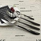 Set 24 Piezas Cubiertos, Cuchillos y Tenedores para Cubiertos de Acero Inoxidable 304 para Restaurante, Hotel,Restaurante Temático o Buffet -Plata Negro
