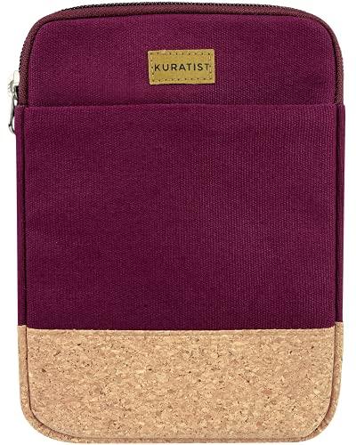 Kuratist Custodia per Tablet / eBook Reader – realizzata a mano in 100% tela di cotone e protezione bordi in sughero, 100% vegano) (Berry, 10 pollici)