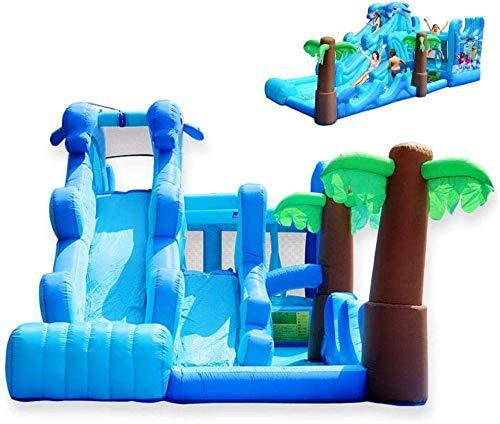 FGVDJ Castillo Inflable Grande de Verano con tobogán acuático Doble con Pared de Escalada, Piscina y trampolín para jardín de Infantes al Aire Libre - 600x280x270cm
