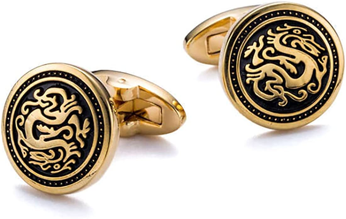 Oriental Dragon Cufflinks Gold colored Round Cuff links YW34