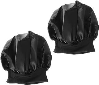 Lurrose Silk Sleeping Cap Solid Color Nightcap Hair Loss Hats with Adjustable Elastic Ribbon for Women Girls 2pcs (Black)