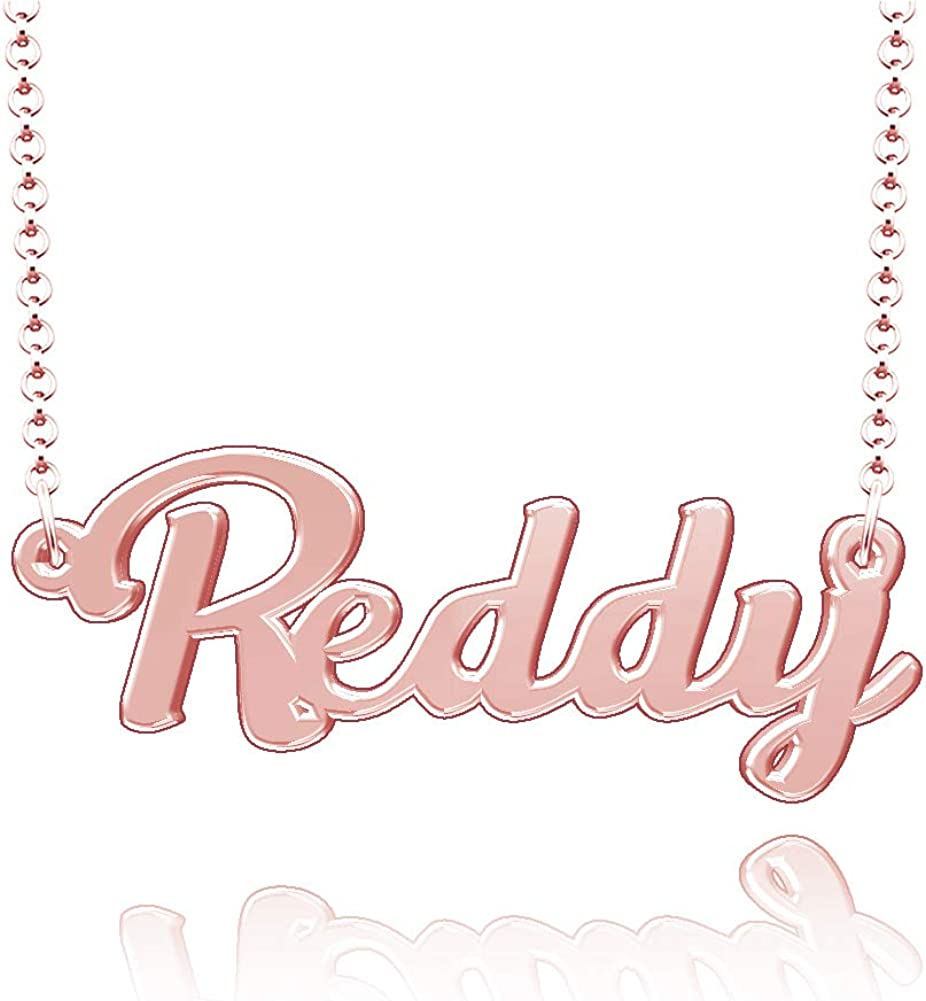 LoEnMe Jewelry Customized Reddy Name Necklace Stainless Steel Plated Custom Made of Last Name Gift for Family