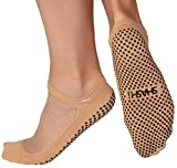 Shashi Nude Mesh Non Slip Ergonomic Socks Pilates Barre Ballet Yoga Dance Nude Small / 5.5-7.5