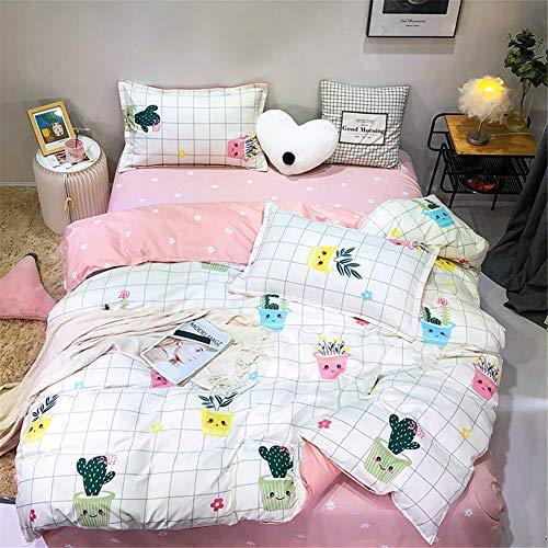 Treer Bettwäsche Set 4tlg, Drucken Mikrofaser Bettwäsche-Set mit Kissenbezüge, Reißverschluss Bettbezug und Bettlaken für Schlafzimmer Einzelbett Doppelbett (Topfpflanzen,180x220cm)