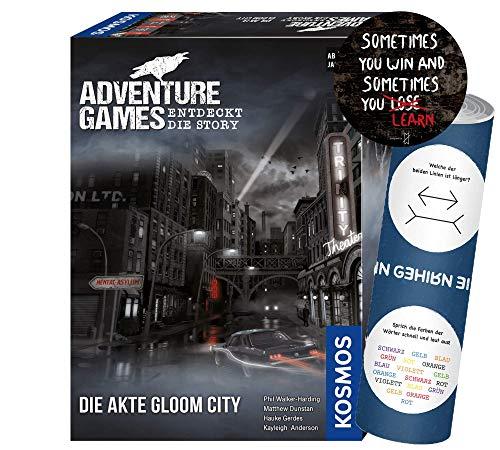 Adventure Games - Set: Die Akte Gloom City + 1x Exit-Sticker + 1x optisches Täuschungsposter