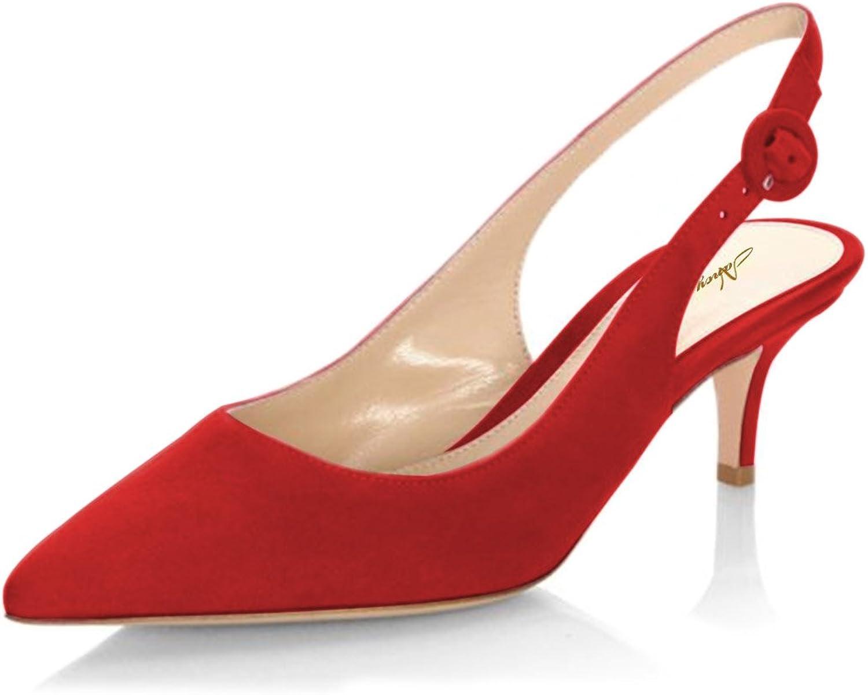 NJPU Women Pointed Toe Slingback Low Heels Pumps Faux Suede Kitten Sandals Dress shoes