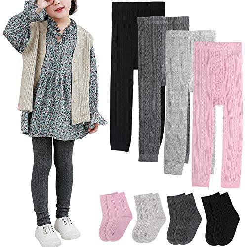 BOOPH Girls Leggings Pants Sock Set Toddler Footless Tights 5-6X Multicolor