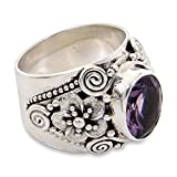 NOVICA Amethyst .925 Sterling Silver Floral Ring 'Lilac Frangipani'