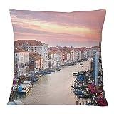 Timingila Lona Fundas de colchón Gran Canal de Venecia Funda de Almohada Funda de cojín sofá Sofá Cintura Throw Home Decor 1 Unids - 16 x 16 Pulgadas